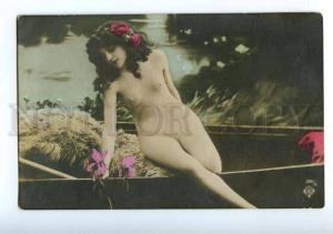 156292 NUDE Nymph Woman in Boat w/ IRIS ROSES Vintage PHOTO
