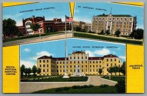 Postcard Amarillo TX c1940s South Western Hospital Center Multi View Hospitals
