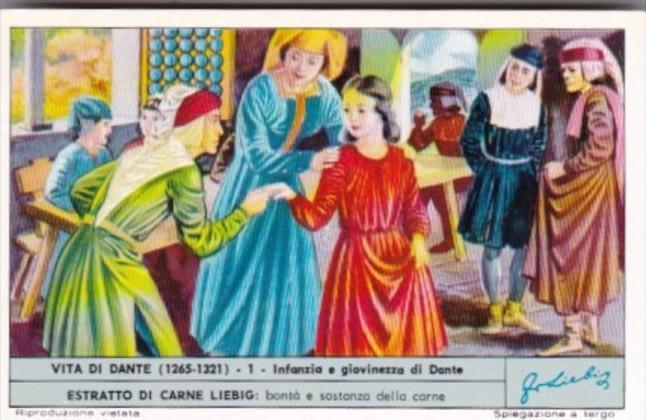 Liebig Trade Card S1810 Life Of Dante No 1 Infanzia e giovinezza di Dante
