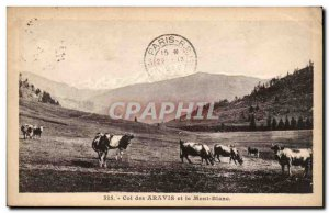 Old Postcard Col des Aravis and Mont Blanc Cows