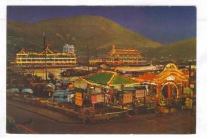 Night view of the Floating Restaurants in Aberdeen, Hongkong China,40-60s