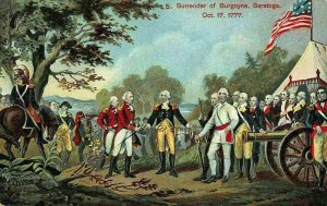 G. Washington Surrender of Burgoyne Saratoga 1777 american flag Postcard