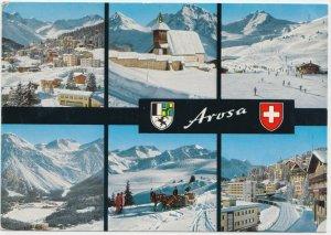 Arosa, Switzerland, multi view, 1973 used Postcard