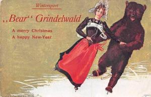 Wintersport Bear Grindelwald Christmas New Year Anthropomorphic Bear Ice skate