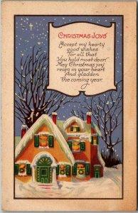 Vintage CHRISTMAS JOYS Postcard Winter / Snowy House Scene STECHER 1523C