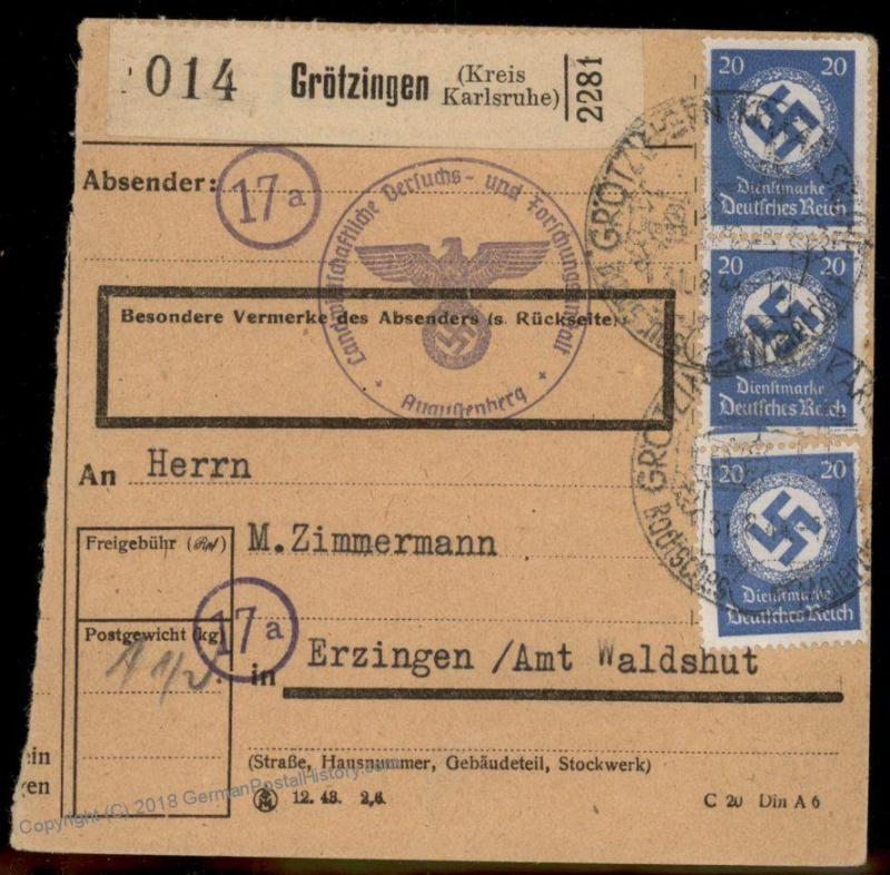 3rd Reich 1944 Germany Dienstmarken Official Parcel Card Cover 86864