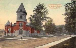 Oneonta NY~First Baptist Church~Chestnut Street~Boy on Corner~Big Bike~c1914 PC