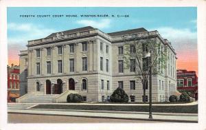 Forsyth County Court House, Winston-Salem, N.C.,  Early Postcard, Unused