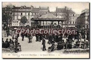 Old Postcard Caen Place de la Republique Concert Military