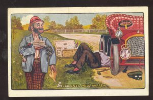 HOBO DRIFTER BUM AUTOMOBILE MECHANIC VINTAGE COMIC POSTCARD REPUBLIC KANSAS