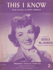 This I Know Gisele MacKenzie 1950s Sheet Music