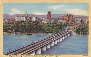 Pennsylvania Harrisburg Skyline Showing Susquehanna River And Bridges