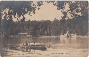 Ohio Real Photo RPPC Postcard MOUNT MT VERNON 1909 LAKE HIAWATHA Slide Boat