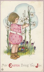EASTER, 1900-10s; Little girl admiring the Lillies, Colored eggs