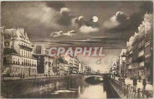 Old Postcard Rennes Quays Moonlight