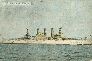 1908 Navy Military US Battleship Kansas LA Postcards Postcard 21-5959