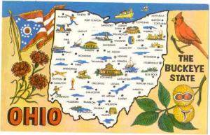 Ohio The Buckeye State Map Card