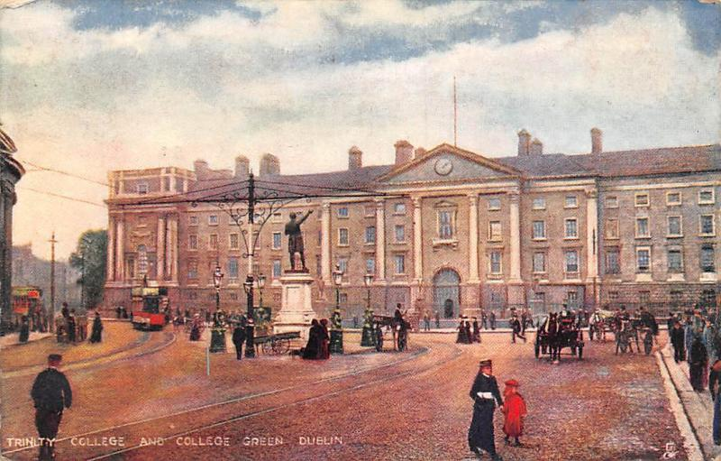 Ireland, Dublin, Trinity College and College Green, Statue, Tramways Rail 1904