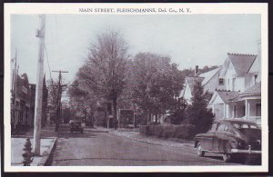 P1395 vintage unused postcard main street fleishmanns del. co new york up state