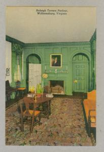 Raleigh Tavern Parlour, Williamsburg, Virginia, unused Curteich linen Postcard