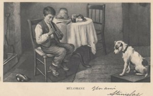 Boy plays a flute for a dog , MELOMANE , 1904