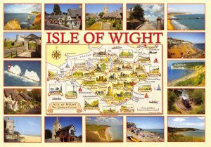 NEW Isle of Wight Map Postcard, with Border 16 Multi View CG2