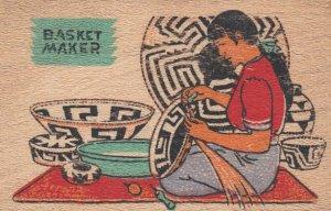 Wooden Postcard; Papago Indian Basket Maker , 30-40s
