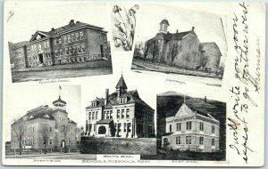 Missoula, Montana Postcard Multi-View / 5 School Buildings w/ 1907 Cancel