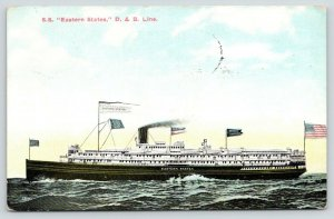 Great Lakes Ship~SS Eastern States D&B Line~Detroit to Chicago Pennant~1910 PC