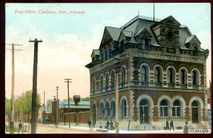 dc86 - CHATHAM Ontario Postcard 1913 Post Office