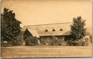 ANDOVER, New Hampshire RPPC Real Photo Postcard UNITARIAN CHURCH c1910s Unused