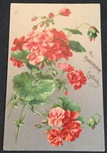 """Postcard Unused but w/writing on back """"A Birthday Greeting"""" Flowers LB"""