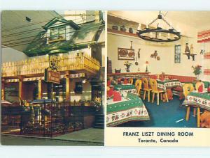 Unused Pre-1980 FRANZ LISZT RESTAURANT Toronto Ontario ON o0474