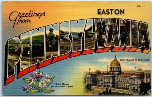 Easton, PENNSYLVANIA Large Letter Postcard State Capitol Linen c1940s Unused