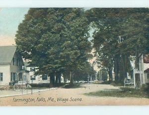 1908 houses ALONG THE STREET in Farmington Falls Maine ME postcard j6138
