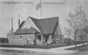 Baptist Church Douglas Arizona C-1910 Postcard HTTCO Flag 1264