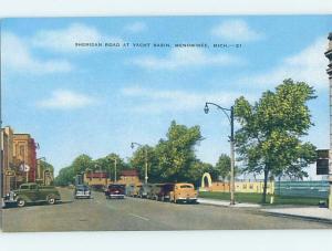 Unused Linen STREET SCENE Menominee Michigan MI F0821-12