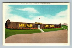 Pigeon Forge TN, Fort Weare Game Park, Linen Tennessee Postcard