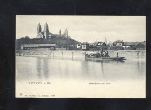 SPEYER A. RH. HAFENPARTIE MIT DOM GERMANY ANTIQUE VINTAGE POSTCARD