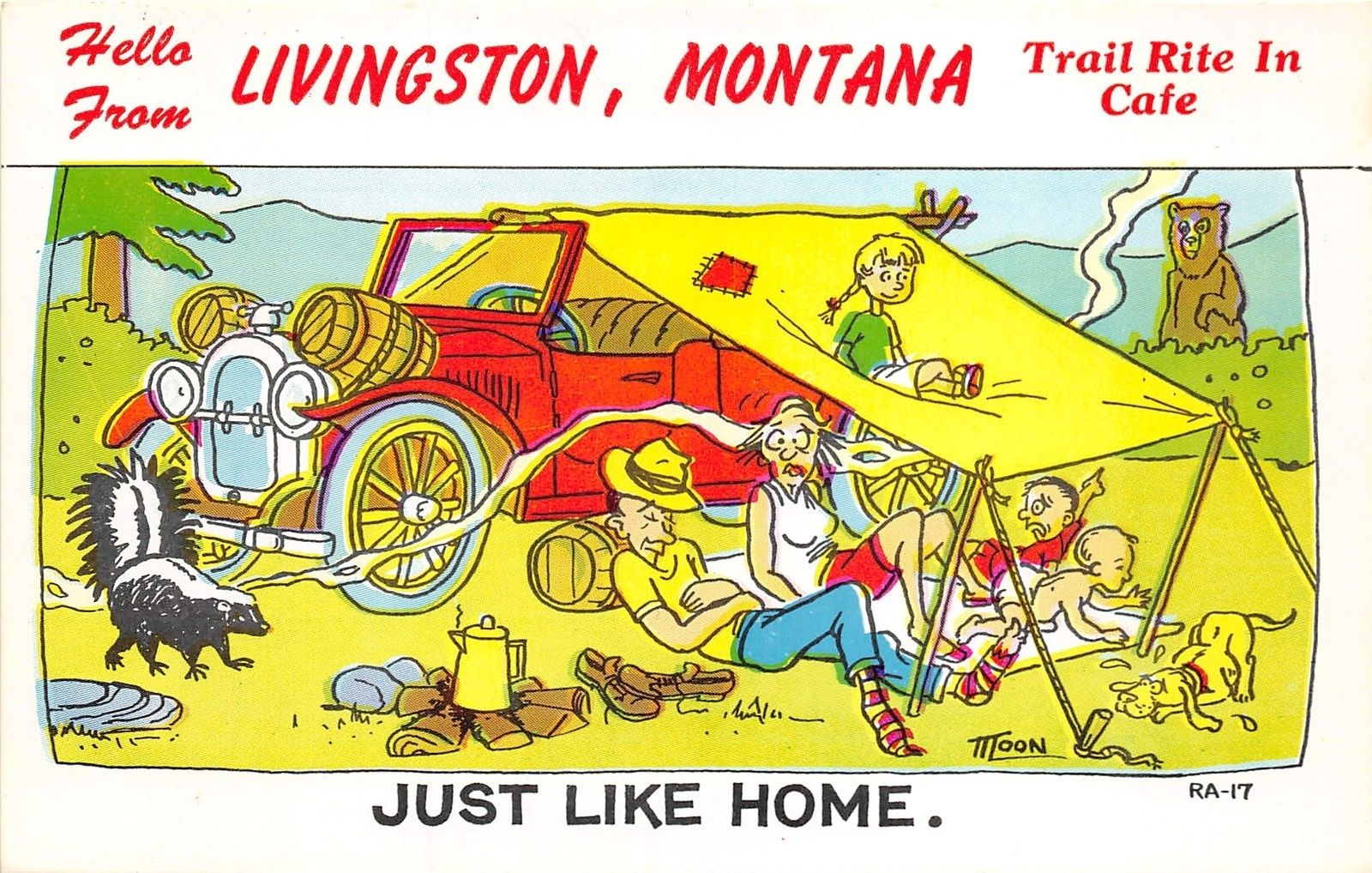 Livingston Montana~Trail Rite in Cafe~Makeshift Camping~Skunk