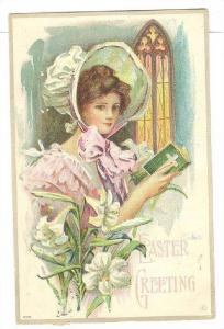 Lady Holding A Bible With A Cross, Easter Greetings, PU-1909