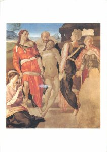 Postcard Artist signed Michelangelo The entombement