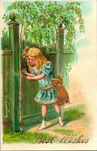 Vtg Postcard 1900s Embossed & Gilded Best Wishes Girl Tying Bow w Gold String