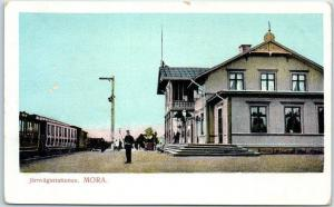 MORA, SWEDEN Railway Railroad Depot Station Scene w/ Train c1910s Unused