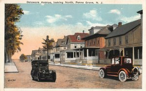 Delaware Ave. Looking North, Penns Grove, New Jersey, Early Postcard, Unused