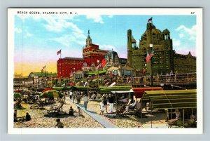 Atlantic City NJ-New Jersey, Beach Scene, Vintage Postcard