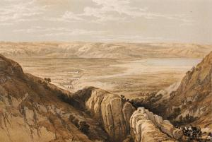 Art Print Postcard, Jordan Valley & The Dead Sea, Middle East, David Roberts 97B
