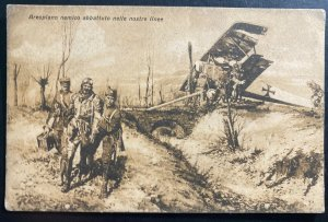 Mint Italy RPPC Real Picture Postcard enemy airplane shot down In Our Lines