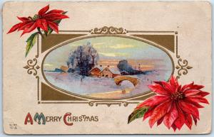 Vintage Holiday Embossed Postcard A MERRY CHRISTMAS Winter House Scene 1913