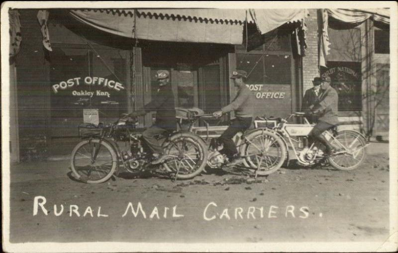 Oakley KS Motorcycle Rural Mail Carriers & Post Office Real Photo Postcard dcn